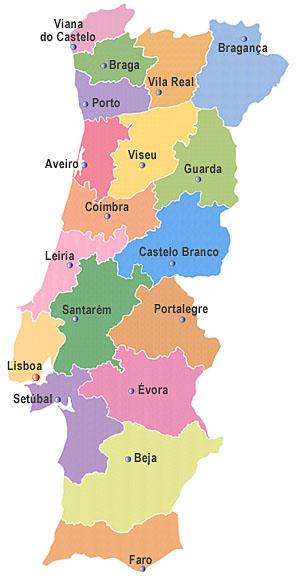 regiões de portugal mapa Mapa Portugal Regiões | Visitando Portugal regiões de portugal mapa