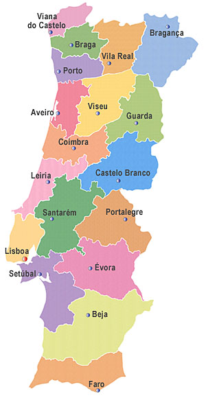 mapa das regioes de portugal continental Mapa Portugal Regiões | Visitando Portugal mapa das regioes de portugal continental